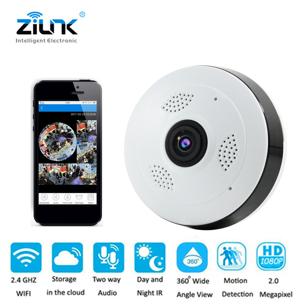 IP Camera HD 1080P Wifi Fisheye 360 Degree Panoramic View Two Way Audio P2P  Security TF Card